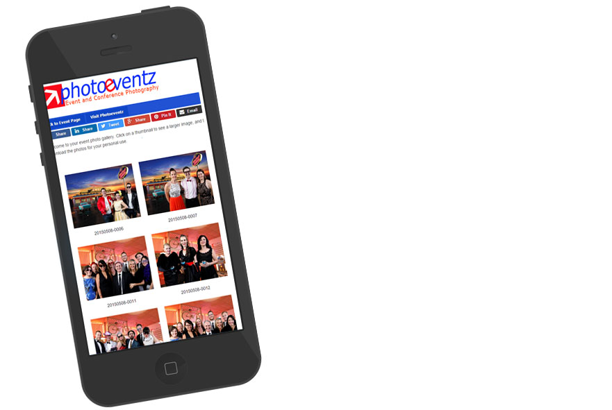 Smartphone showing web photo gallery